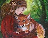 Freya and the Fox 5x7 Greeting Card Pagan Mythology Forest Goddess Art