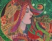 Mezzo Goddess Art Nouveau Music Witch 11x14 Print