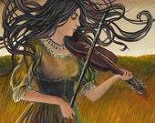 Goddess Art Wild Gypsy Air Art Nouveau Witch 5x7 Blank Greeting Card