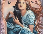 Goddess Art Mórríghan Celtic Witch Art Nouveau Goddess 5x7 Greeting Card