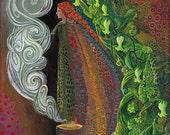 Witches Brew 8x10 Fine Art Print Pagan Mythology Art Nouveau Gypsy Witch Psychedelic Goddess Art