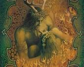 Beltane Reunion Pagan Art God and Goddess Art 5x7 Card