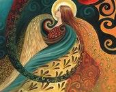 Feather Goddess Psychedelic Goddess Art Nouveau 16x20 Poster Print