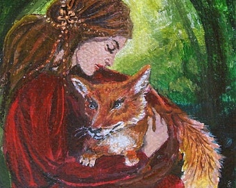 Freya and the Fox 5x7 Greeting Card Pagan Mythology Forest Goddess Art