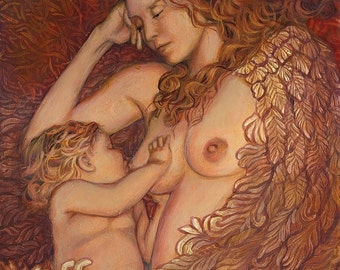 The Nestling 8x10 Fine Art Print Mythology Art Nouveau Angel Surreal Breastfeeding Mother and Child Goddess Art