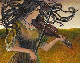 Wild Gypsy Air 11x14 Fine Art Print Pagan Mythology Bohemian Art Nouveau Witch Goddess Art