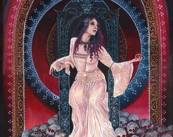 Persephone Queen of the Underworld 11x14 Print Pagan Mythology Bohemian Gypsy Witch Goddess Art