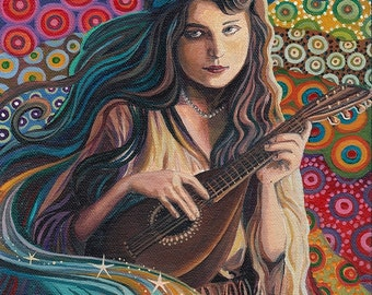 The Muse of Music 8x10 Fine Art Print  Art Nouveau Gypsy Pagan Mythology Goddess Art