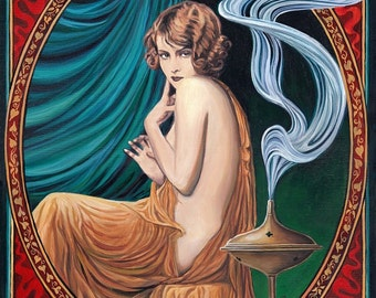 The Charms of Ishtar 8x10 Fine Art Print Pagan Mythology Art Nouveau Gypsy Witch Goddess Art