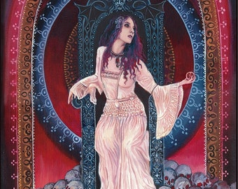Persephone Queen of the Underworld 5x7 Blank Greeting Card Pagan Mythology Bohemian Gypsy Witch Goddess Art