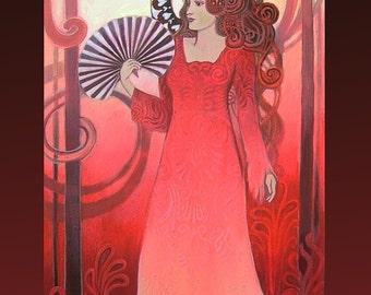 Red Art Nouveau Goddess - 5x7 Blank Greeting Card
