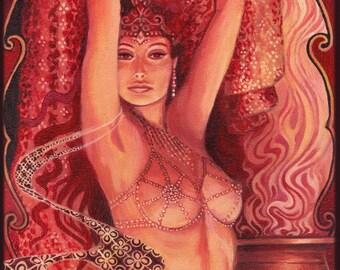 Hathor's Song Goddess of Love Beauty and Music 5x7 Card Fine Art Print Pagan Mythology Bohemian Gypsy Witch Goddess Art