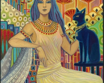 Bast Egyptian Cat Goddess Art Deco Bohemian Poster Print