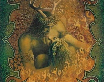 Beltane Reunion 16x20 Poster Print Pagan Bohemian Mythology Goddess Art