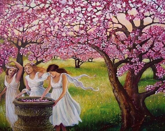 Spring Nymphs - Renaissance Pagan Goddess Art 8x10 Print