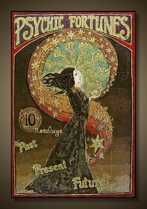 Psychic Fortunes Print 12x18 Art Nouveau Gypsy Circus Poster Art