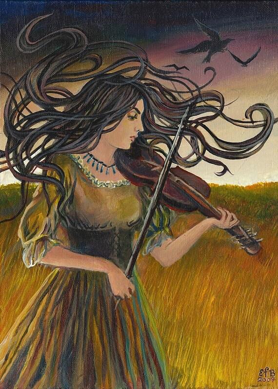 Wild Gypsy Air 5x7 Blank Greeting Card Pagan Mythology Celtic Witch Art Nouveau Psychedelic Bohemian Gypsy Goddess Art