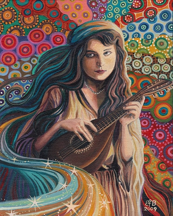 The Muse of Music 8x10 Fine Art Print  Art Nouveau Gypsy Pagan Mythology Goddess Art