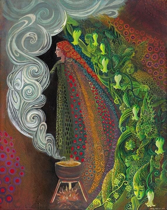 Witches Brew 11x14 Fine Art Print Pagan Mythology Art Nouveau Gypsy Witch Psychedelic Goddess Art