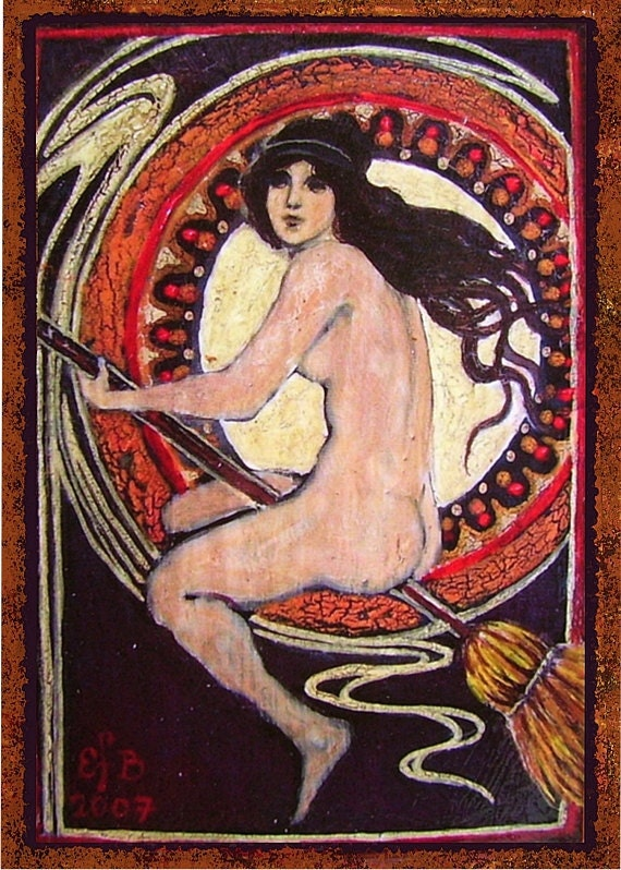 Little Nude Nouveau Witch - 5x7 Blank Greeting Card