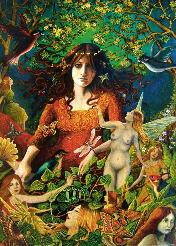 The May Queen 5x7 Greeting Card Pagan Mythology Witch Fairy Goddess Art