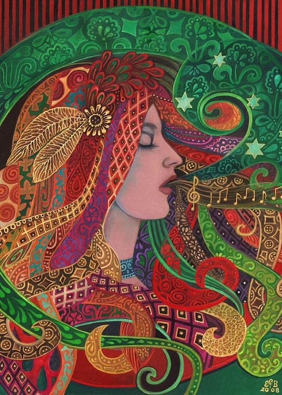Mezzo Goddess Art Nouveau Psychedelic Gypsy 5x7 Blank Greeting Card