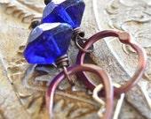 Earrings - sterling silver, vintage glass, rosy copper - Ultramarine