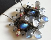 On Sale - Earrings - sterling silver, oxidized, wire wrapped, moonstone, labradorite, iolite, copper - Tempest