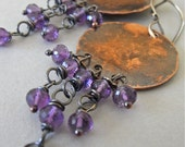 RESERVED - Earrings - copper, sterling silver, oxidised, amethyst - Neomarica