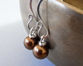 Earrings - south sea shell pearl, sterling silver - Mocca