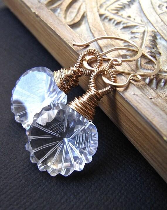 Earrings - goldfill, rock crystal quartz, carved, AAA gemstone  - Tilda