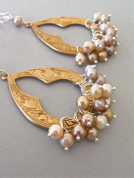 Earrings - sterling silver, vintage brass, freshwater pearls - Agra