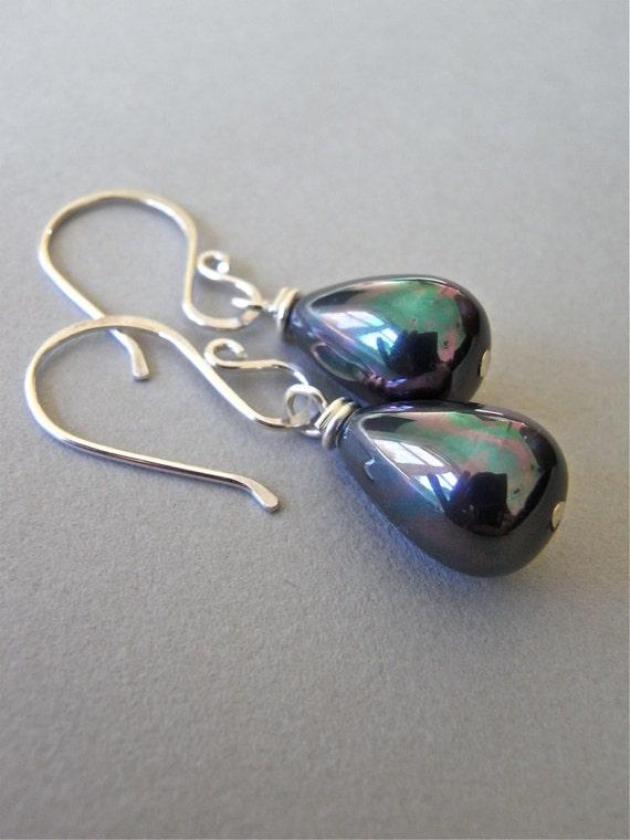 Earrings - sterling silver, south sea shell pearl, black, peacock, teardrop - Martinique