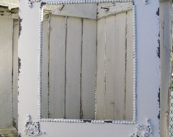 Shabby Chic Vintage BEADED PICTURE FRAME, Vintage Decor, Distressed Frame, Super Sized Frame 28x24, Holds a 16x20, Wedding Portrait