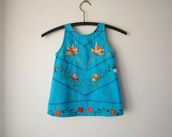 The Francie Dress - 18 Months to 2T - Embroidered Mexican Flowers   -  Ready to Ship - OOAK Party Dress