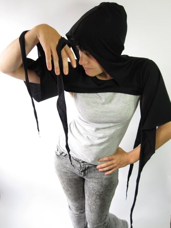 witchy hooded batwing shrug