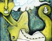 RESSERRÉE - 8 x 8 Archiv... passe-partout d'un corset de peinture technique mixte acier Ela original snake chartreuse bleu vert blanc crotale
