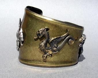 Dragon Bracelet Cuff Gold Metal Cuff Bracelet Dragon Cuff Bracelet Gold Dragon Jewelry Gold Cuff Bracelet