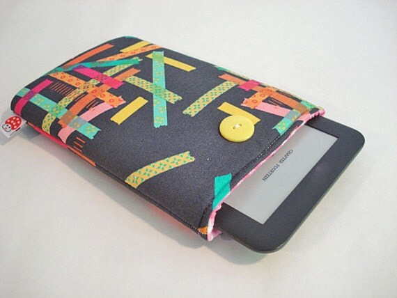 CLEARANCE- E-Reader Cover / Kindle Case / fits most E-Readers and Small Tablets-- Washi Tape