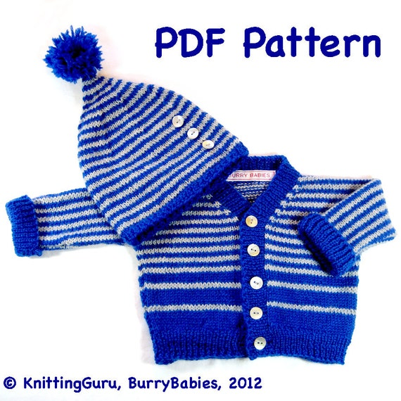 Baby Knitting PATTERN Sweater and Hat Easy DIY by KnittingGuru