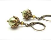 Green Pearl Earrings, Ornate Steampunk Earrings, Light Forest Green Drops, Swarovski Crystal Pearls, Bridesmaid Wedding Bridal,Hawaii Beads
