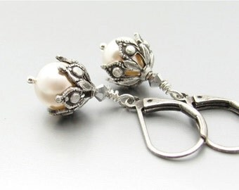 White Pearl Earrings, Swarovski Crystal Pearls, Steampunk Wedding, White Wedding, Bridal Gift,  Hawaiibeads
