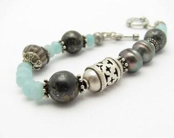 Gemstone Sterling Silver Bracelet, Moroccan Design Bracelet, Blue Amazonite, Freshwater Pearl, Pyrite Stone, Yoga Zen Bracelet, MIxed Beads