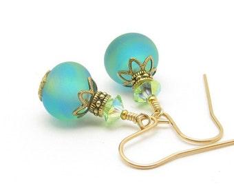Aqua Lampwork Glass 14K Gold Fill Earrings, USA Lampwork, Aqua Green Pastels Swarovski Crystals, Spring Summer Jewelry, Hawaiian Jewelry