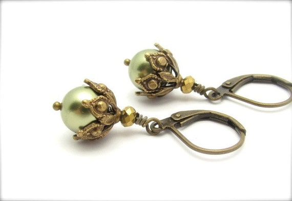 Green Pearl Earrings, Ornate Steampunk Earrings, Light Forest Green Drops, Swarovski Crystal Pearls, Bridesmaid Wedding Bridal,Hawaii Beads