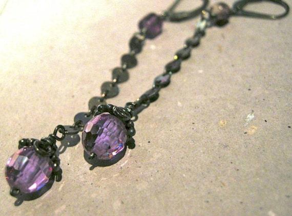 Silver Amethyst Earrings, Long earrings, purple lavender CZ, vintage Silver, dangle drop earrings,Camp Sundance, Gem Bliss