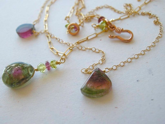 Watermelon Tourmaline necklace, gem Slice, Camp Sundance necklace, 14k Gold filled, 2 strand necklace, October birthstone