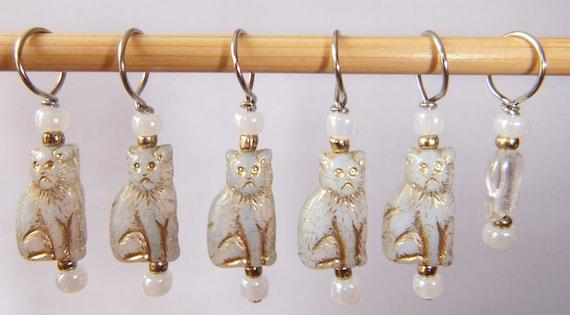 White Cat Stitch Markers--Set of Six