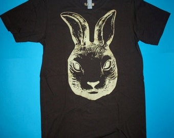 rabbit t-shirt, free shipping etsy, mens brown tee, mens clothing, 1AEON brown tee w Golden Rabbit, mens S-XXL