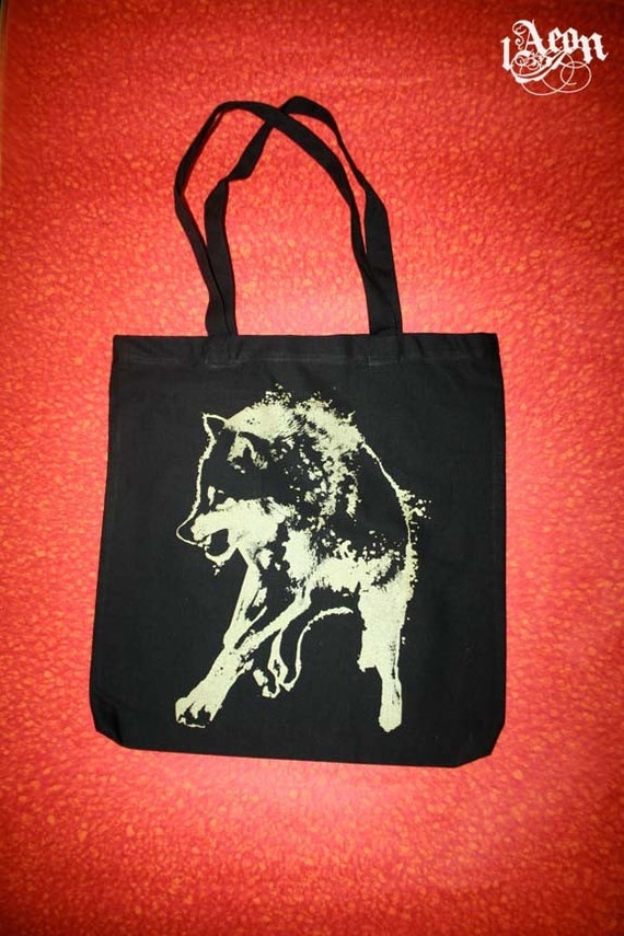 wolf bag, native american wolf, black gold tote, black bag, Black wolf tote, wolf tote bag, 1AEON Golden wolf tote - Unisex